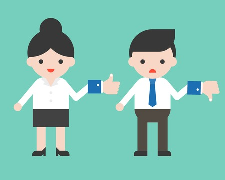 Cute Businessman hold dislike sign and businesswoman hold like sign, flat design vector Illustration