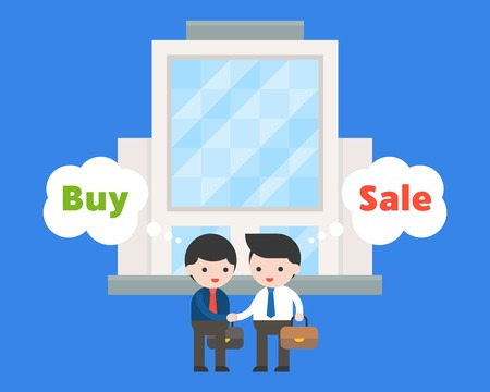 Two of Business man shake hand in front of big building,  flat design about deal business situation concept