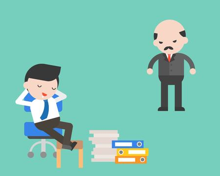 Slack off businessman with angry boss, flat design business concept Vector Illustration