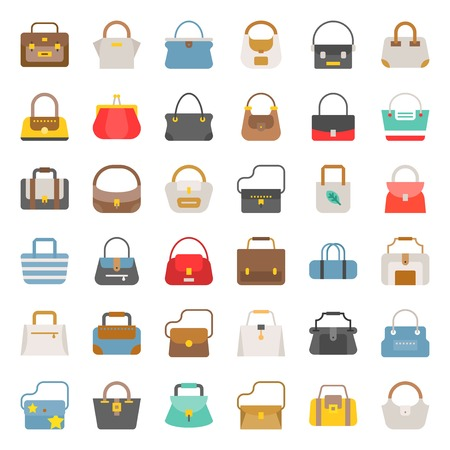 Fashion Bag solid vector icon in various style such as tote bag, athletic bag, boho, barrel set 2
