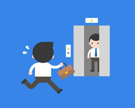 Businessman running to closing lift, flat design business concept