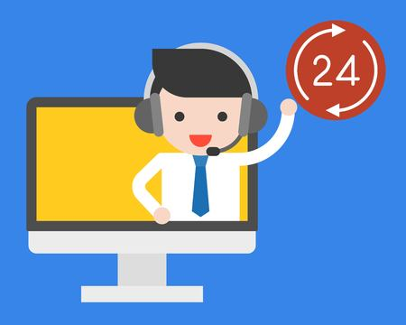 Businessman on computer screen with head phone and 24 working hours badge, operation time concept flat design  イラスト・ベクター素材