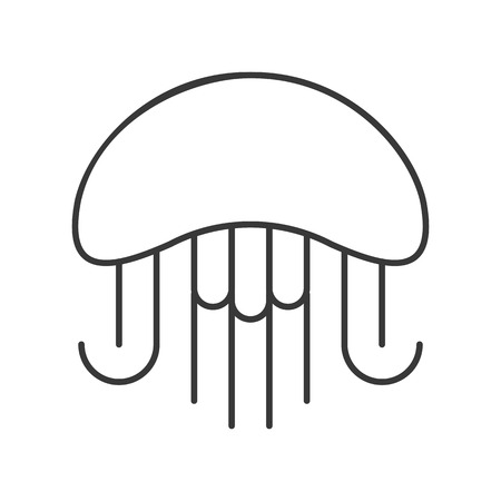 Jelly fish outline vector icon on white background