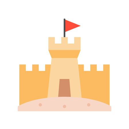Sand castle on beach, flat design vector icon