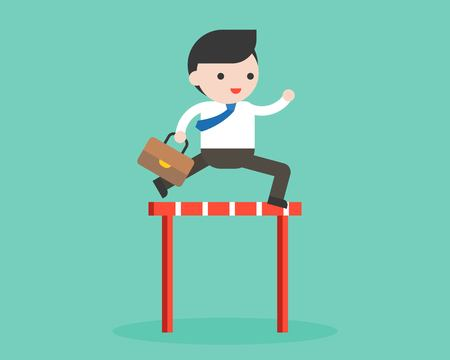 Businessman jumping cross obstacle, flat design business concept