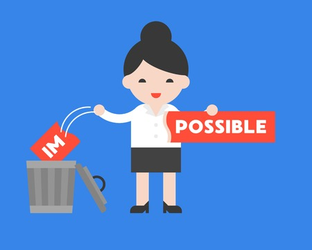 Businesswoman change the impossible sign to possible,motivation flat concept Çizim