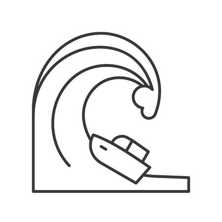 Tsunami wave and ship, disaster vector outline icon