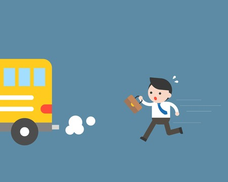 Businessman running to catch bus, but late, flat design business situation concept