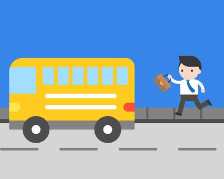 Businessman running to catch bus on road vector, daily life concept