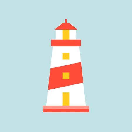Lighthouse or tower icon, simple flat design vector illustration