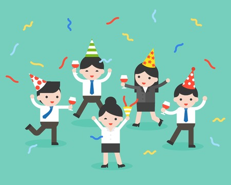 Happy business person at party, celebration, merry Christmas and happy new year flat concept