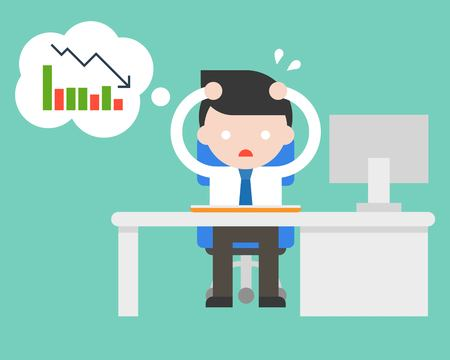exhausted businessman stress and paranoid at office because bad turnover, flat design vector illustration
