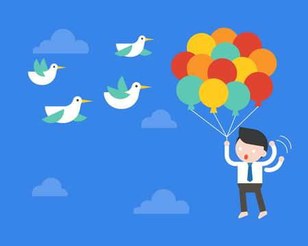 Businessman flying with balloon in sky, afraid birds poke his balloon, risk management concept, vector illustration