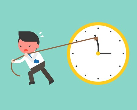 Cute businessman try hard to pull back minute hand anti clockwise by rope,  flat design vector turn back time concept