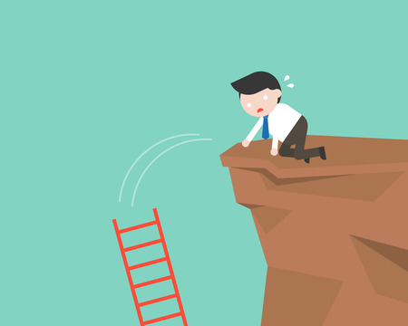 Businessman drop ladder in a cliff, mistake concept flat design Ilustração