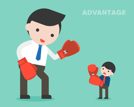 Tiny businessman fighting with giant business woman by boxing, flat design about gender gap concept