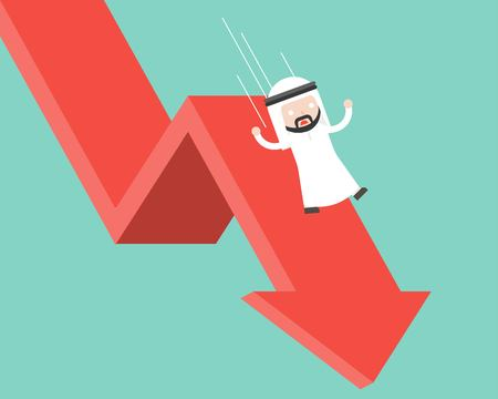 Arab Businessman slide and falling with falling down arrow, business failure flat design concept