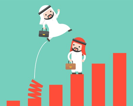 Arab Businessman jumping from spring chart vector, shortcut key to success competitive concept