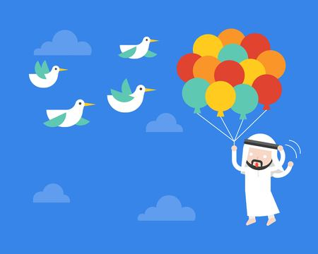 Arab Businessman flying with balloon in sky, afraid birds poke his balloon, risk management concept, vector illustration Иллюстрация