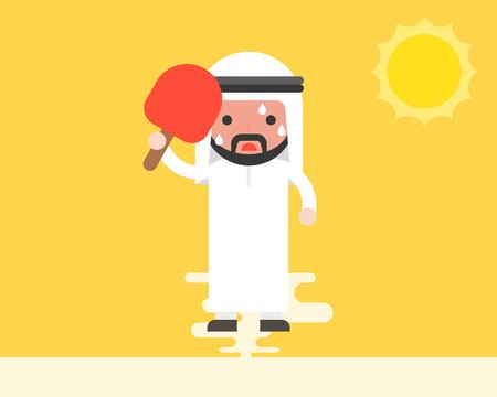 Arab Businessman using handheld fan because very hot weather under sunlight, summer theme, flat design