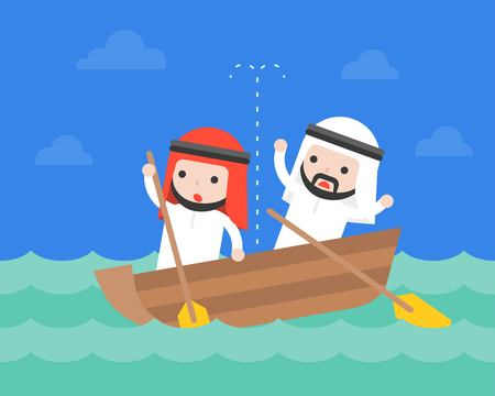Arab Businessman in small leaky boat in ocean, crisis business situation concept flat design Çizim