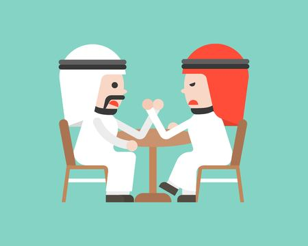 Two Arab Businessman arm wresting, business situation concept flat design