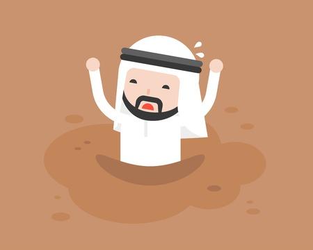 Arabischer Geschäftsmann, der um Hilfe bittet, weil er in Treibsand wie Schlamm gefangen war, flaches Design Vektorgrafik
