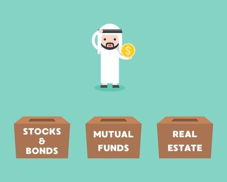 Uomo d'affari arabo scegliendo casella per investimenti tra azioni e obbligazioni, fondi comuni di investimento, immobili, concetto di business design piatto