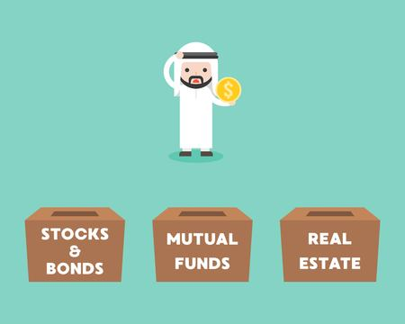 Arab Businessman choosing box for investment between stock and bonds, mutual funds, real estate, flat design business concept