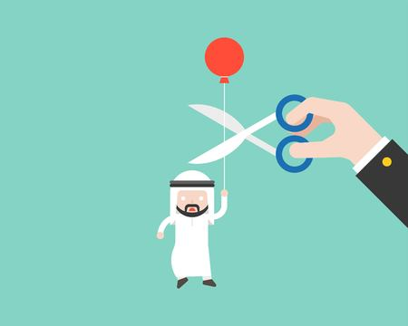 Arab Businessman carrying ballon and paranoid that big hand cut his rope with scissor, business situation, capitalism flat design