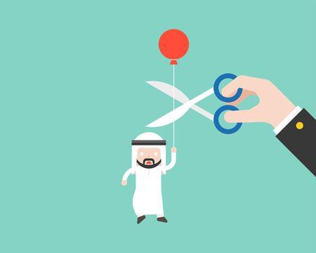 Arabischer Geschäftsmann, der Ballon und paranoid diese große Hand trägt, schnitt sein Seil mit Schere, Geschäftssituation, Kapitalismus flaches Design Vektorgrafik
