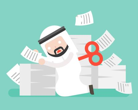 Wind up Arab businessman end of energy and stop working at pile of paper document, over workload concept, vector illustration