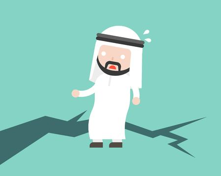 Fear Arab Businessman stand on earth ground crack, unstable concept flat design vector illustration