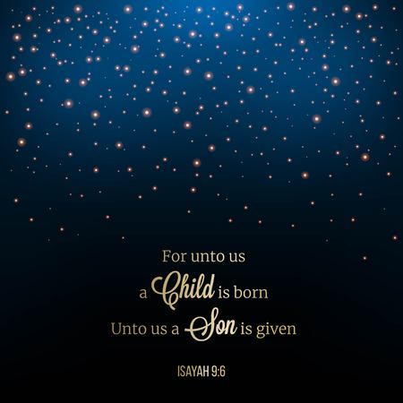 porque para nosotros nace un niño, tipografía de frase bíblica. Escena nocturna de estrella brillante o caída de nieve sobre fondo de malla, tema navideño para usar como fondo de pantalla o telón de fondo Ilustración de vector