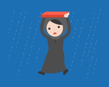 Arab Businesswoman walking under the rain vector, flat design