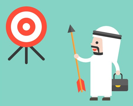 Arab Businessman holding arrow and look at target determined to reach his goal, flat design vector Illusztráció