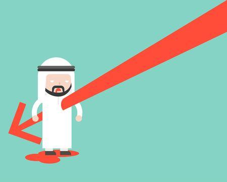 Falling Arrow stab Arab businessman's body, flat design stock turnover decrease concept Illustration