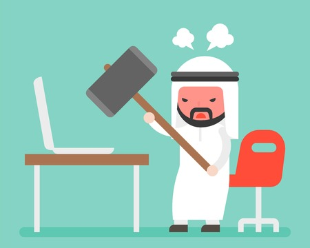 Angry Arab businessman carrying hammer to destroy laptop on desk, flat design, computer broken or out of order concept Фото со стока - 109855513