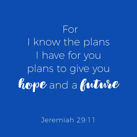 Biblical phrase from jeremiah, for i know the plans i have for you, typography for print or use as poster, flyer, t shirt Ilustração