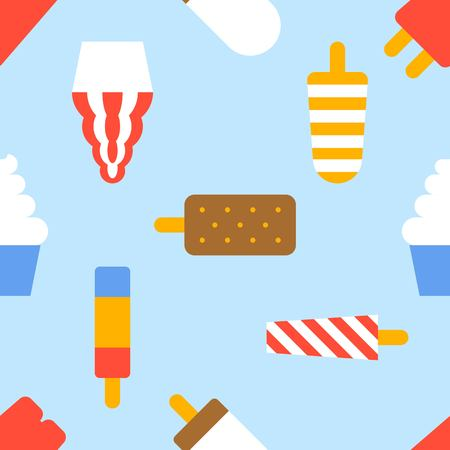 Ice cream seamless pattern vector, flat design summer theme for wallpaper and wrapping paper