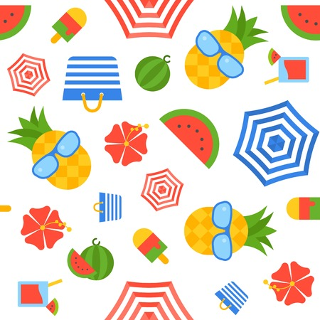 Summer related theme seamless pattern, flat design vector illustration