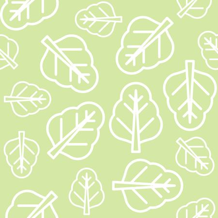 Chinese kale or spinach leaves outline vector seamless pattern Illustration