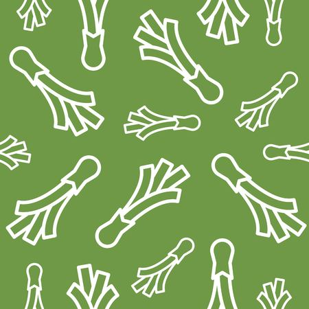 Spring onion line seamless pattern vector on green background Illustration