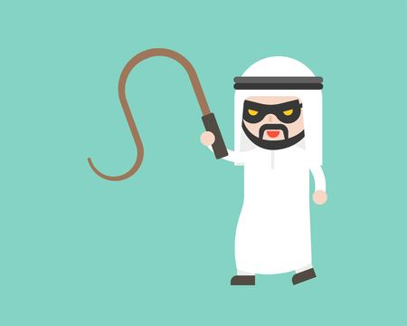 Arab Businessman with mask and whip, ready to use character, flat design Ilustrace