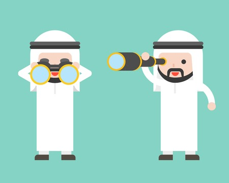 Arab Businessman or manager with binoculars and monocular scope, ready to use character, flat design