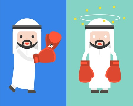 Arab Businessman with boxing gloves, starting fight and dizzy, ready to use character, flat design