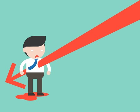 Falling Arrow stab businessman's body, flat design stock turnover decrease concept