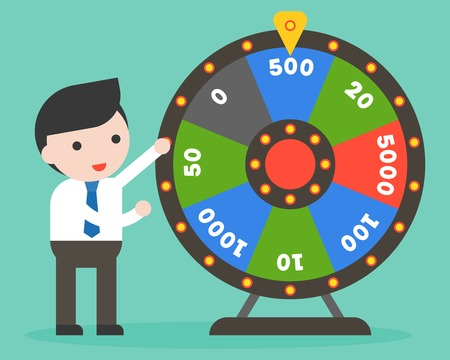 Businessman with Wheel of Fortune, flat design vector illustration
