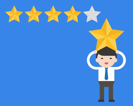 Businessman carry star on his head with star rate, flat design rating and cote concept