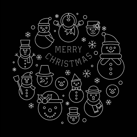 snowman and snowflakes icon arrange as circle shape on background for christmas holidays, outline editable stroke on black background Stock Illustratie